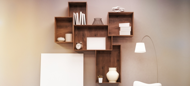 Wooden Box shelves with dark stain