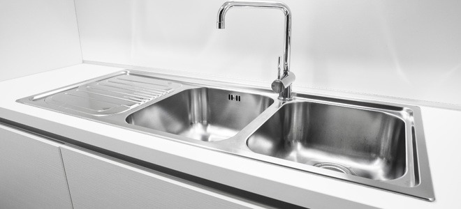 A stainless steel kitchen sink.