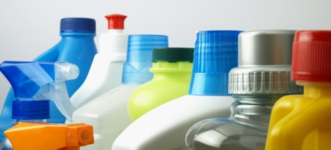 various bottles of cleaning supplies