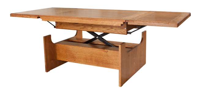 A wood table that raises and lowers from the base