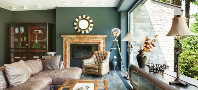 Living Room With Dark Green Walls