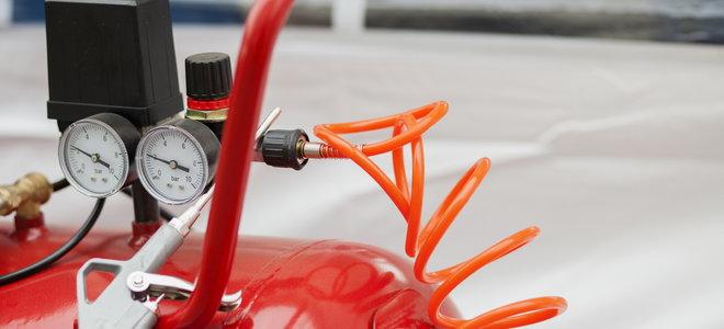 A red air compressor.