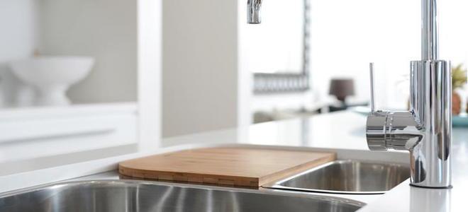 A modern kitchen faucet.