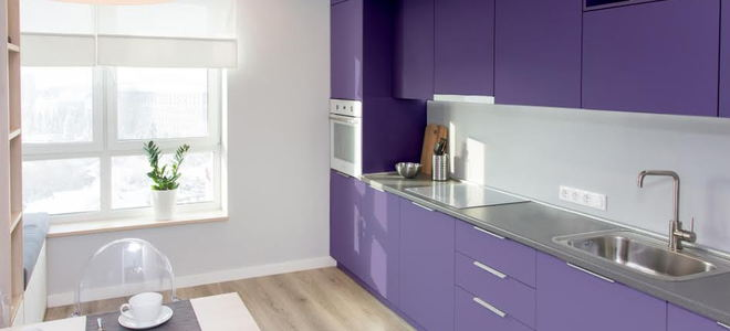 A purple modern kitchen.