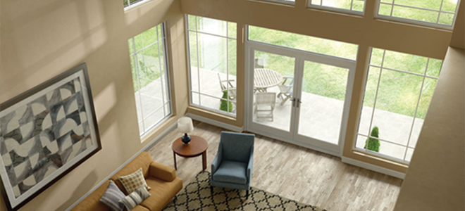 Living Room With A Milgard Patio Door Leading Outside