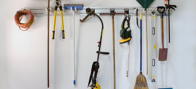 Tools on wall storage unit.