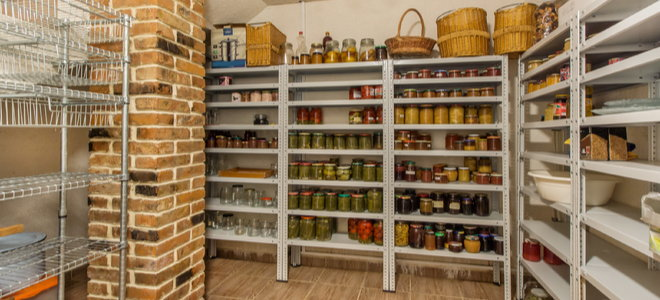 food storage and baskets, large pantry with high shelves