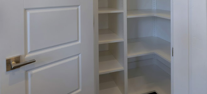 pantry corner with shelves for organization and storage