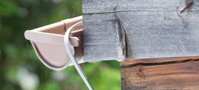 the rain gutter leading electrical cable or cable