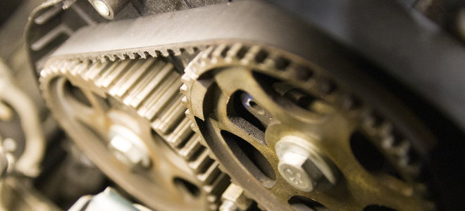 toothed belt on gears and pulleys