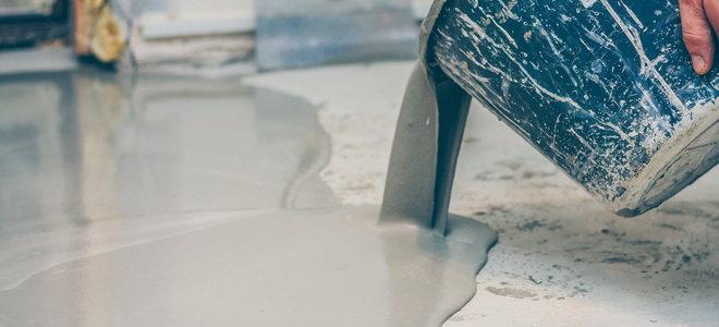 pour sealant and filler on a concrete floor