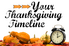 A Thanksgiving tablescape with an alarm clock.