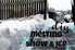 "A walkway with snow and the words ""diy melting snow and ice."""