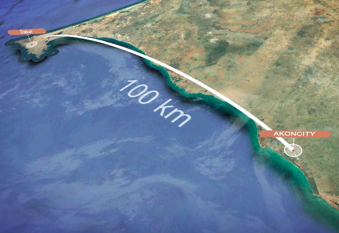 Map shows that Akon City would only be about 100 kilometers away from Dakar.