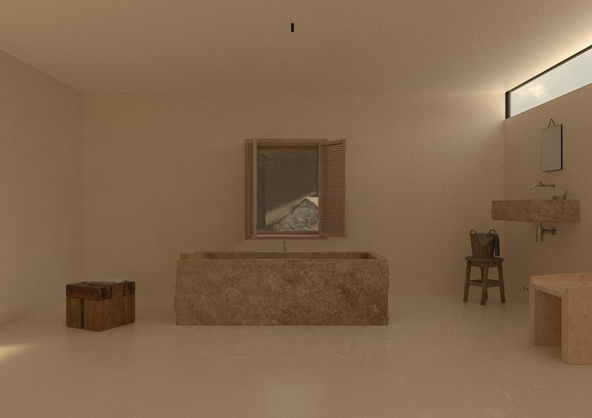 Computer-generated image of Maison's bare-bones bathroom.