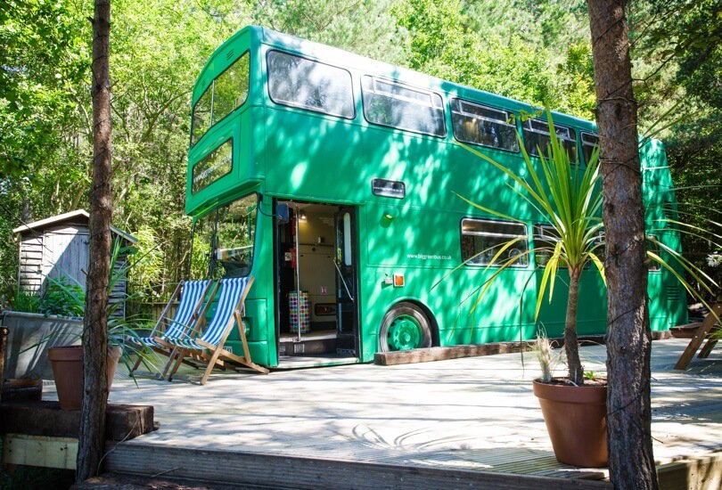 The Big Green Bus: See How a Carpenter Transformed This Double Decker Into a Hip Retro Vacation Spot