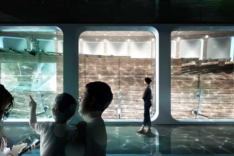 Amsterdam Museum Built Around a Glass Tank Containing a Shipwreck