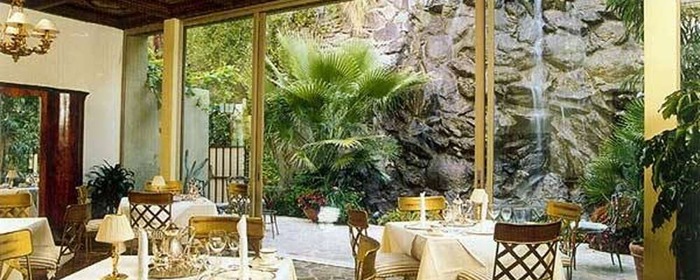 Dining Room with 50-foot waterfall in the background