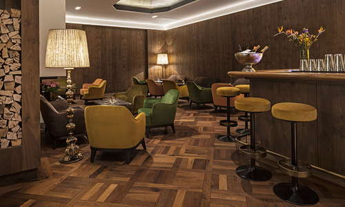 Hotel bar with open fire place