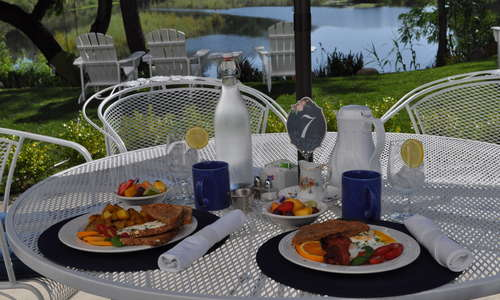"""Belle's Breakfast served daily on the patio"