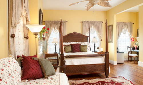 Cozy meets spacious lodging rooms, each with private bath in Green Palm Inn's  popular 4-room breakfast inn.