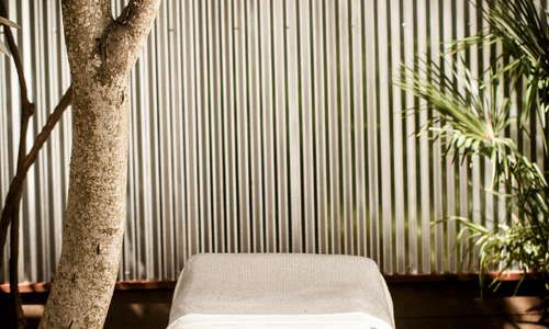 the outdoor spa space allows you to enjoy any of our spa treatments under the redwoods