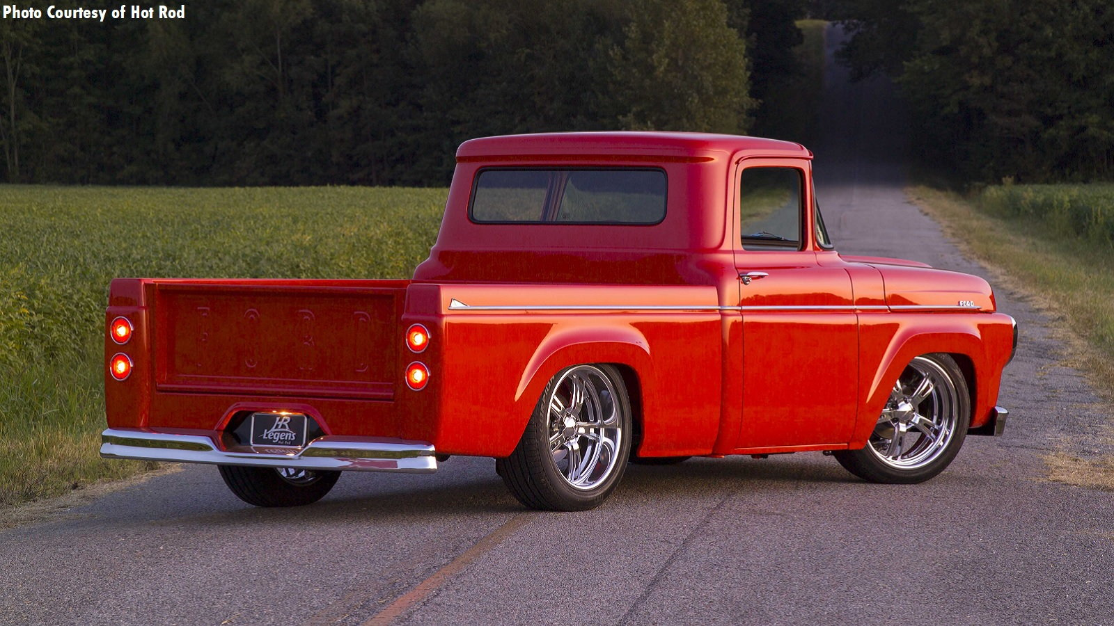 F-100 is Cardinal Red but Has a Coyote Under the Hood