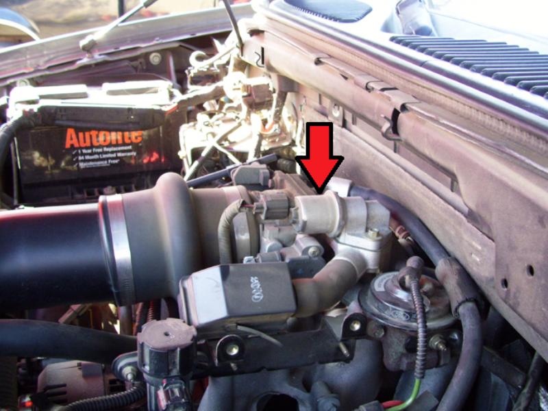 IAC valve location on 4.6L engine