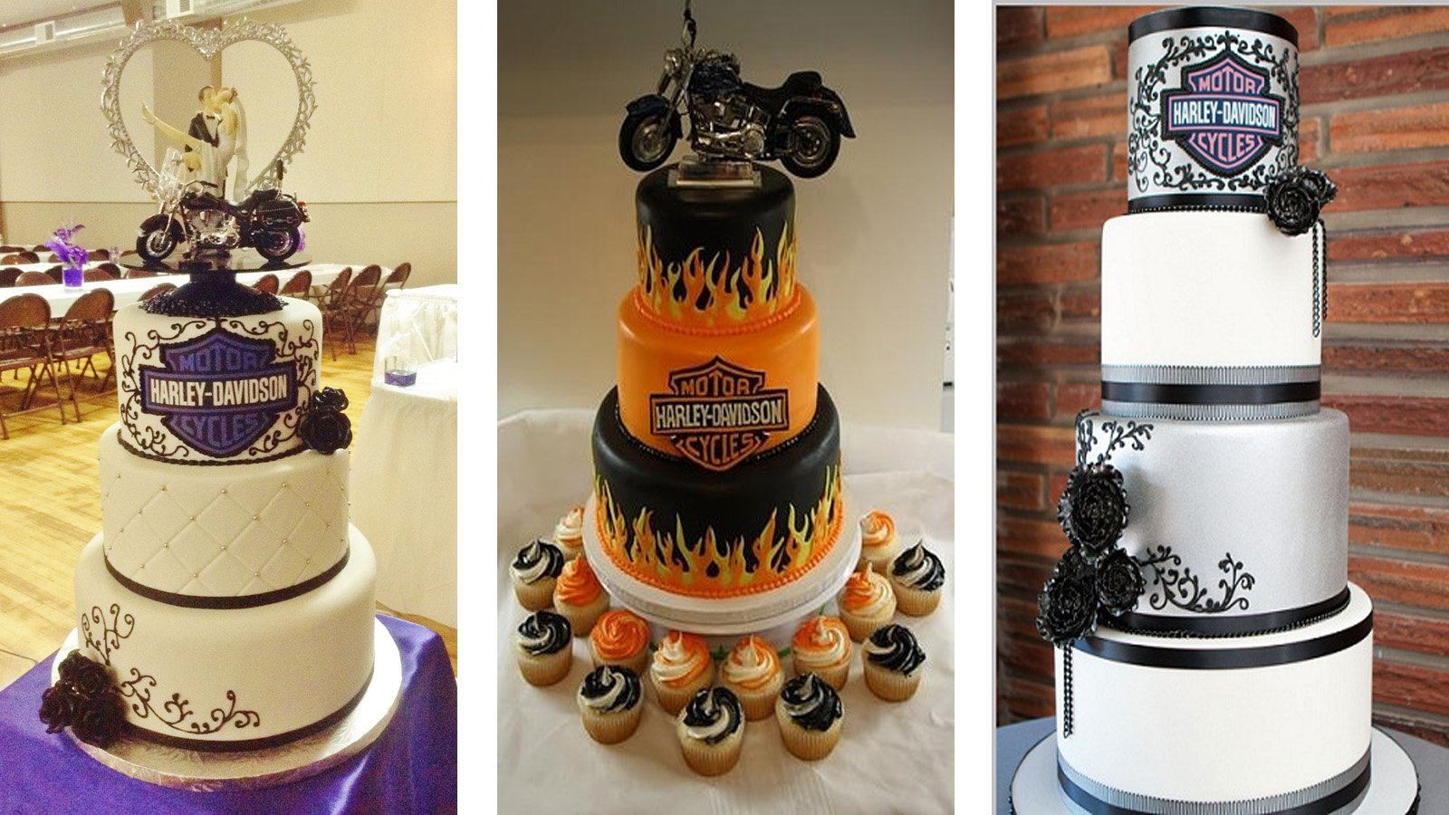 11 things you need for a harley davidson themed wedding harley davidson wedding bands Whether it has orange and black colors or traditional white the cake can still look delicious enough with the Harley Davidson logo