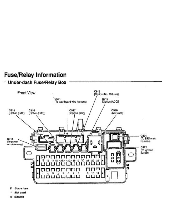 Honda Civic Del Sol Fuse Box Diagrams | Honda-tech on