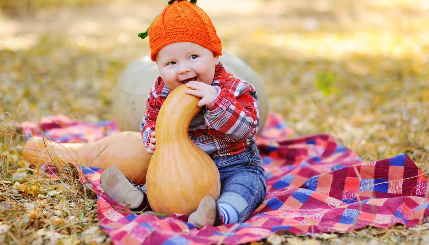 baby wearing orange hat chewing on pumpkin