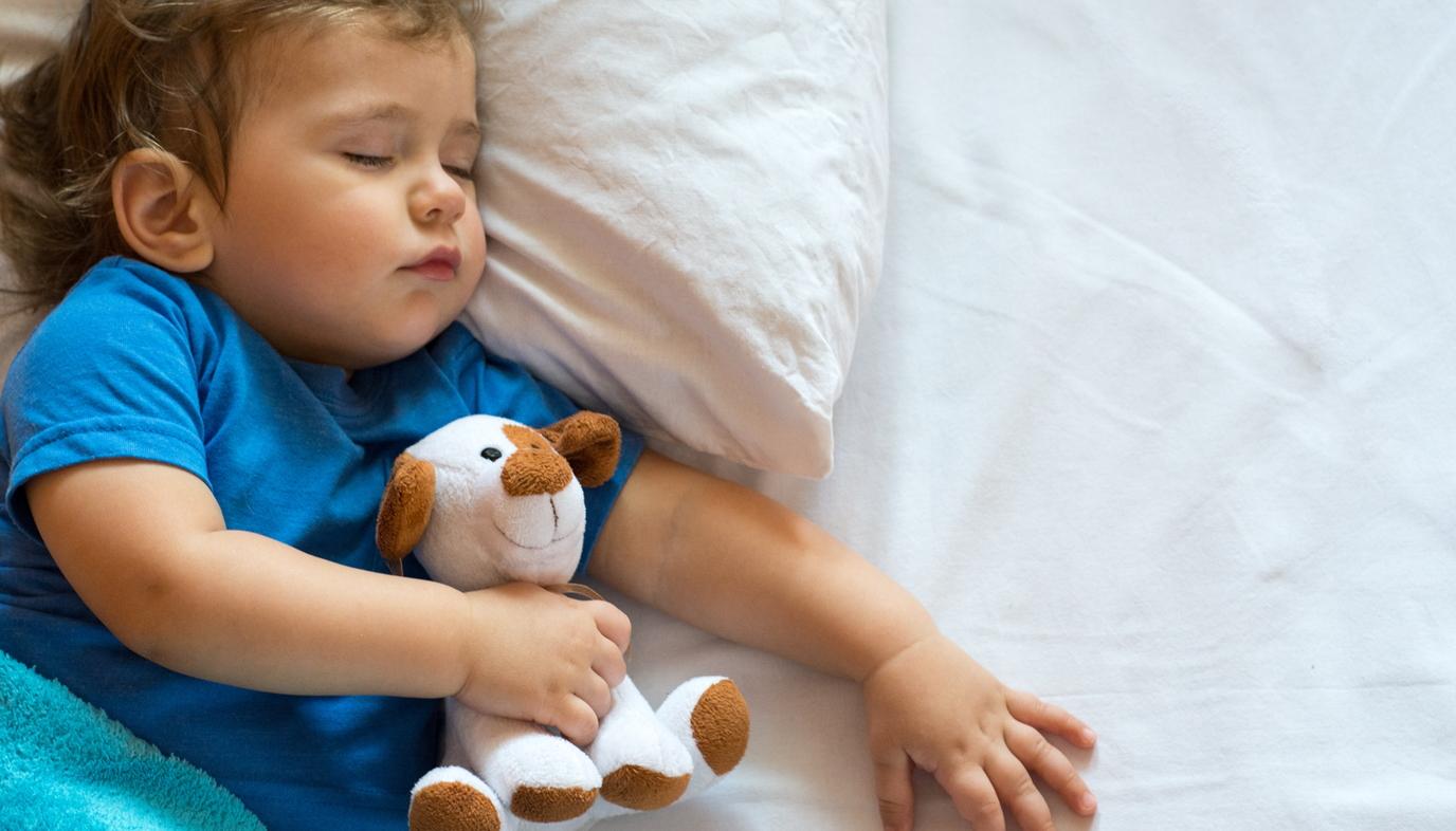 toddler sleeping with stuffed animal