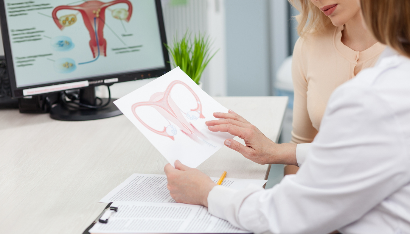 woman consulting doctor about uterus