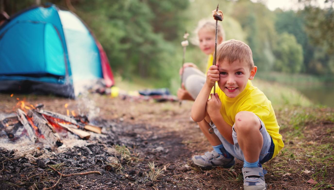 children roasting marshmallows