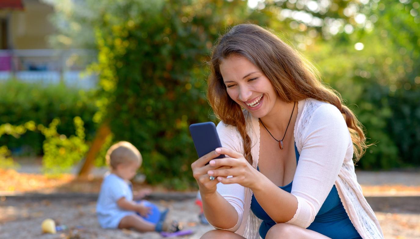 mom using smartphone
