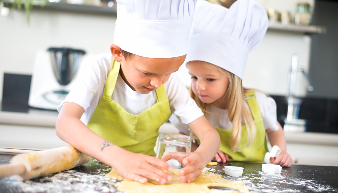 kids wearing chef's hats