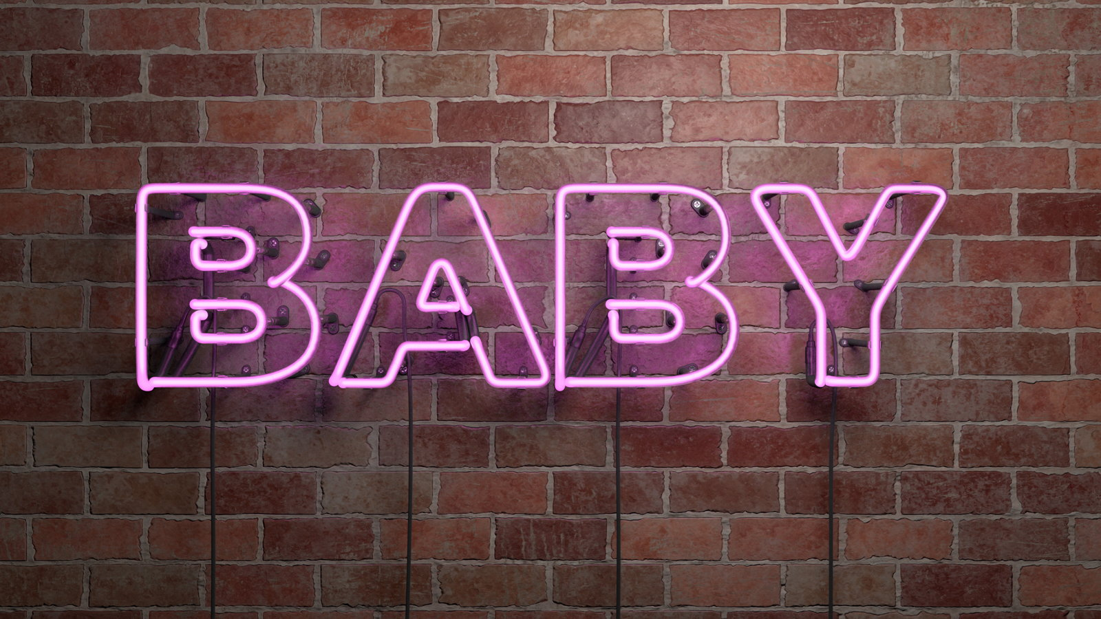 neon sign that says baby