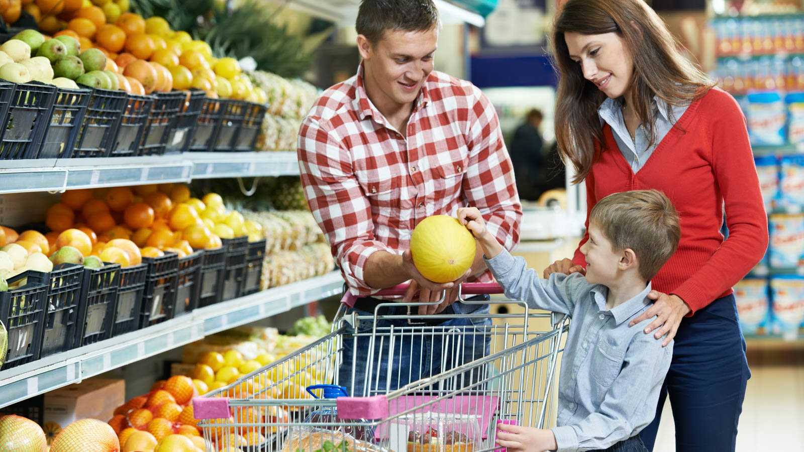 parents shopping with son