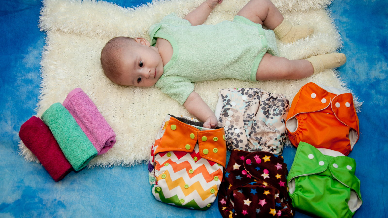 baby with cloth diapers