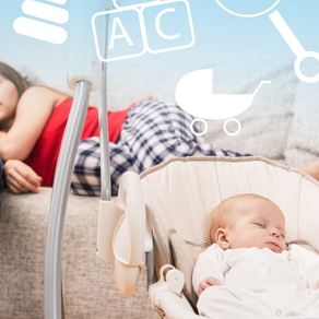 young couple with new baby in swing