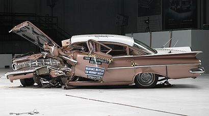 1959 Chevrolet Bel Air post 40% offset frontal crash with a 2009 Malibu