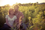Couple surrounded by greenery