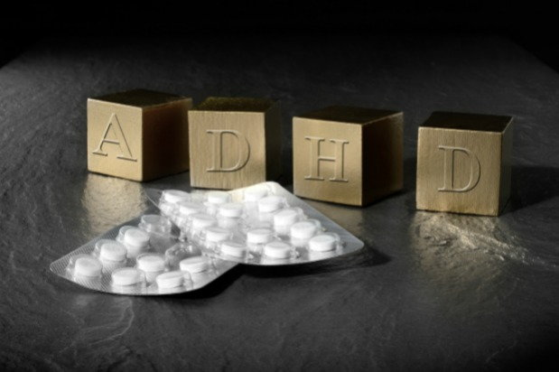 Blocks that spell out ADHD and medication