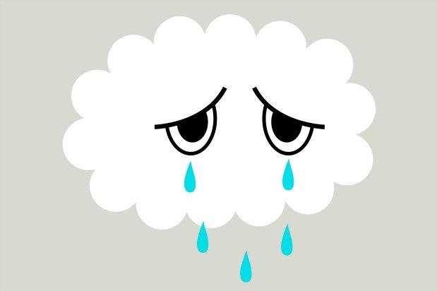 Sad cloud crying