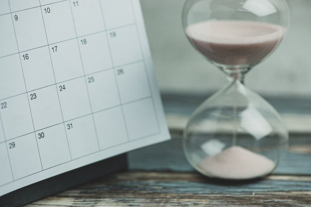 calendar and hourglass