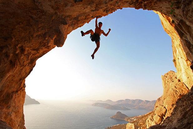 rock climber hanging