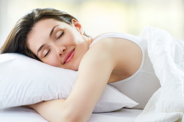 happy woman sleeping