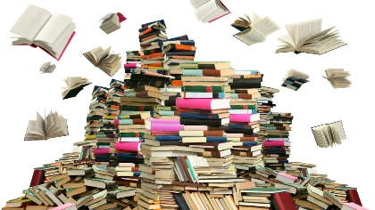 A huge pile of books.