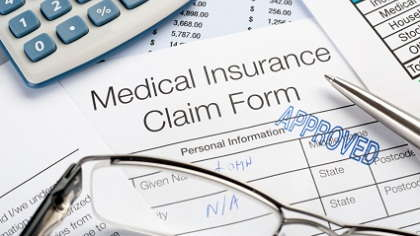 An approved medical insurance claim form.
