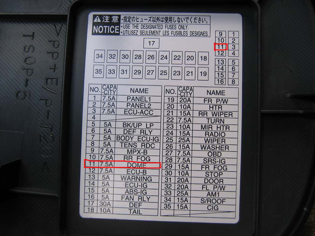 domelightfuse 126112 toyota tacoma 1996 to 2015 fuse box diagram yotatech 2005 Toyota Sequoia Fuse Diagram at reclaimingppi.co